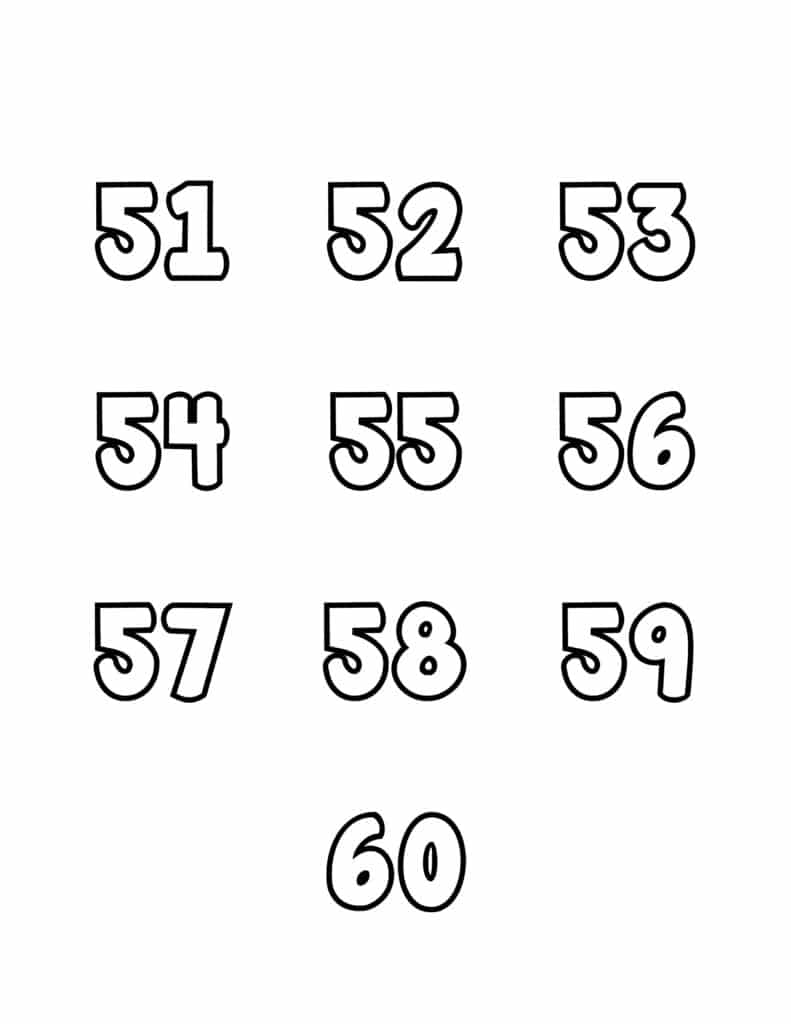 free printable number bubble letters bubble numbers set 51-60