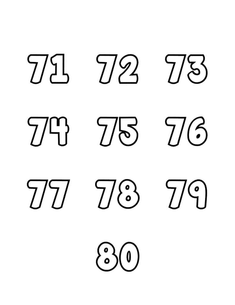 free printable number bubble letters bubble numbers set 71-80