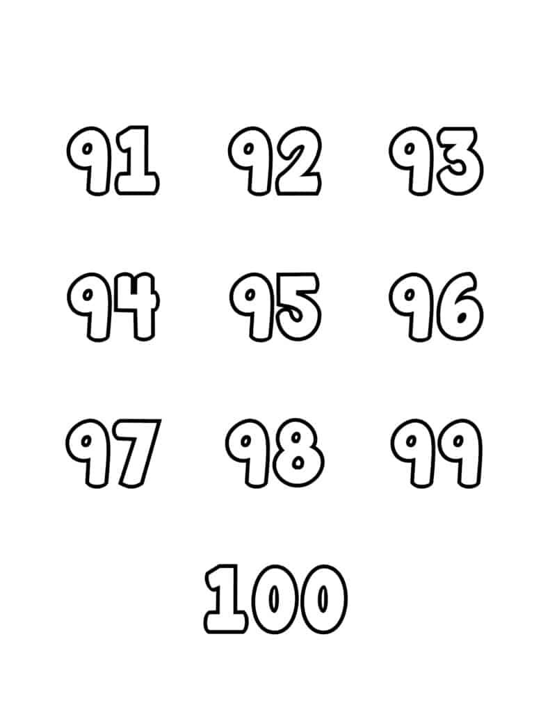free printable number bubble letters bubble numbers set 91-100