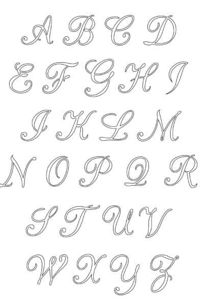 free printable uppercase calligraphy letters alphabet