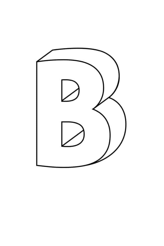 printable 3D bubble letter B