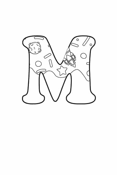 Printable Bubble Letters Outer Space Letter M