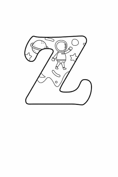 Printable Bubble Letters Outer Space Letter Z