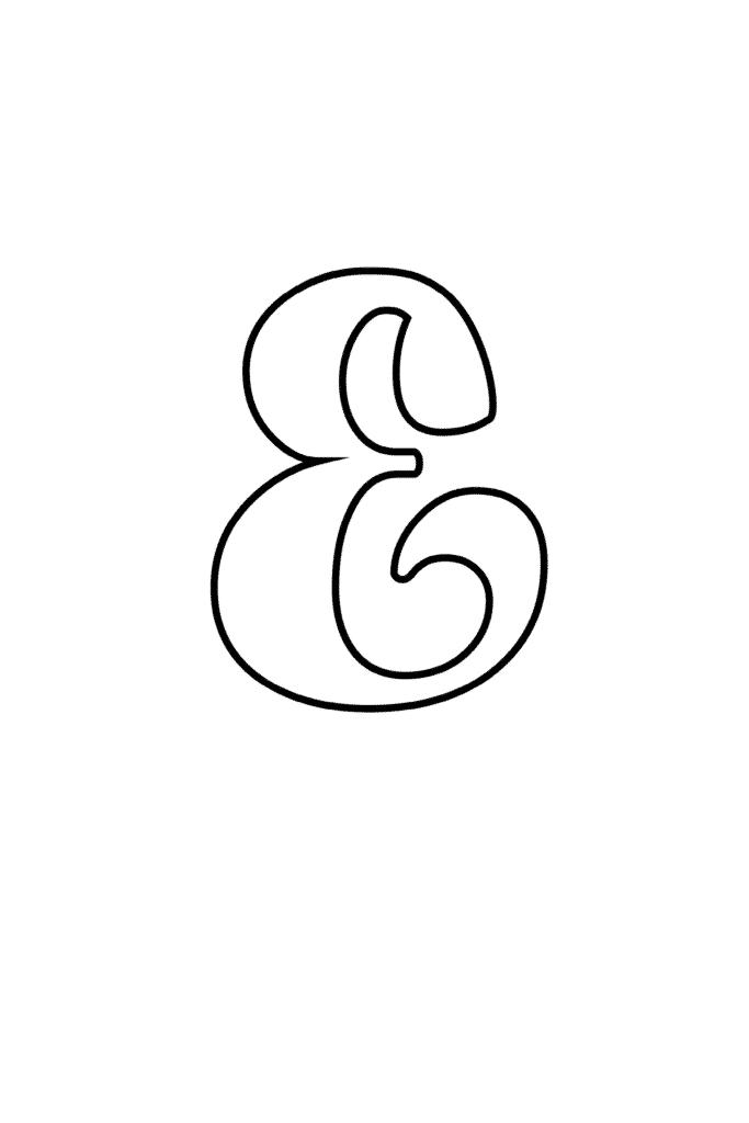 printable cursive bubble letter E