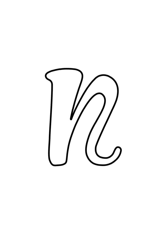 printable cursive bubble letter N