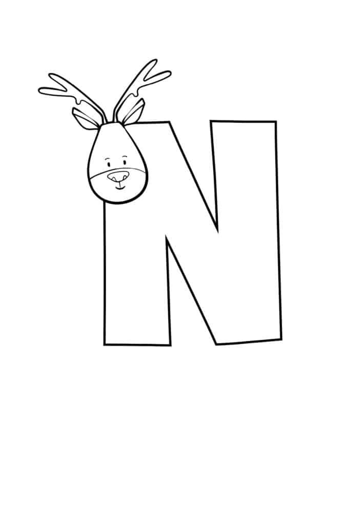 printable cute bubble letter N