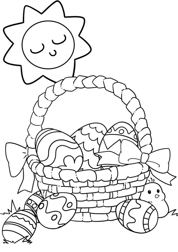 The first of the free Easter Basket coloring pages shows a basket overflowing with beautifully decorated eggs!