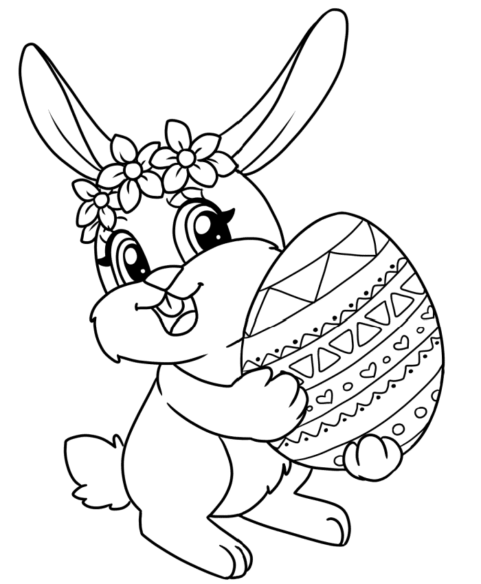 This free Easter bunny coloring page printable is of a beautiful bunny proudly holding her decorated Easter egg. Have the kids color it to bring it to life.
