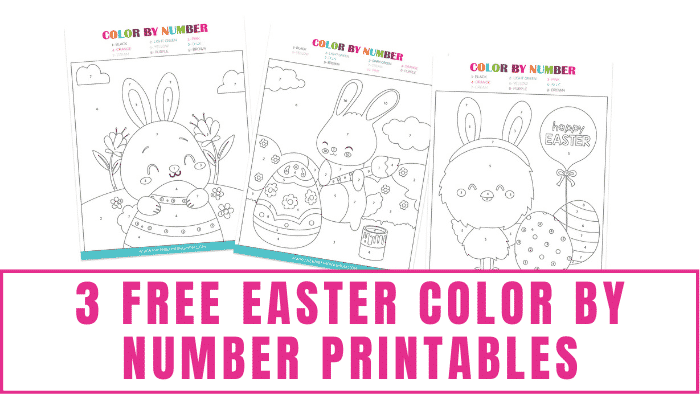 These free Easter color by number printables are a fun and educational activity for kids of all ages especially little kids learning their numbers.