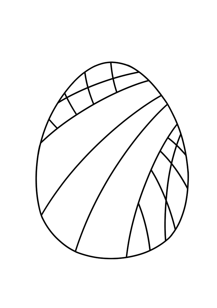 free Easter egg coloring page diagonal pattern