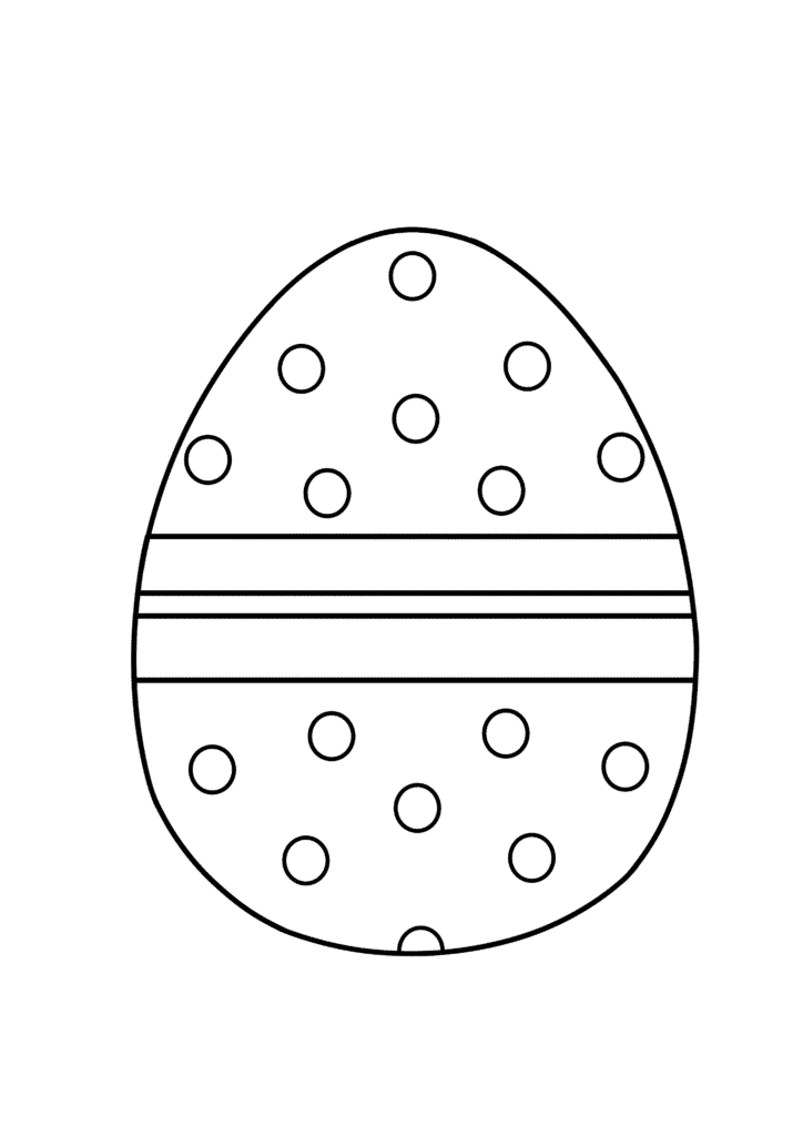 free Easter egg coloring page dotted pattern