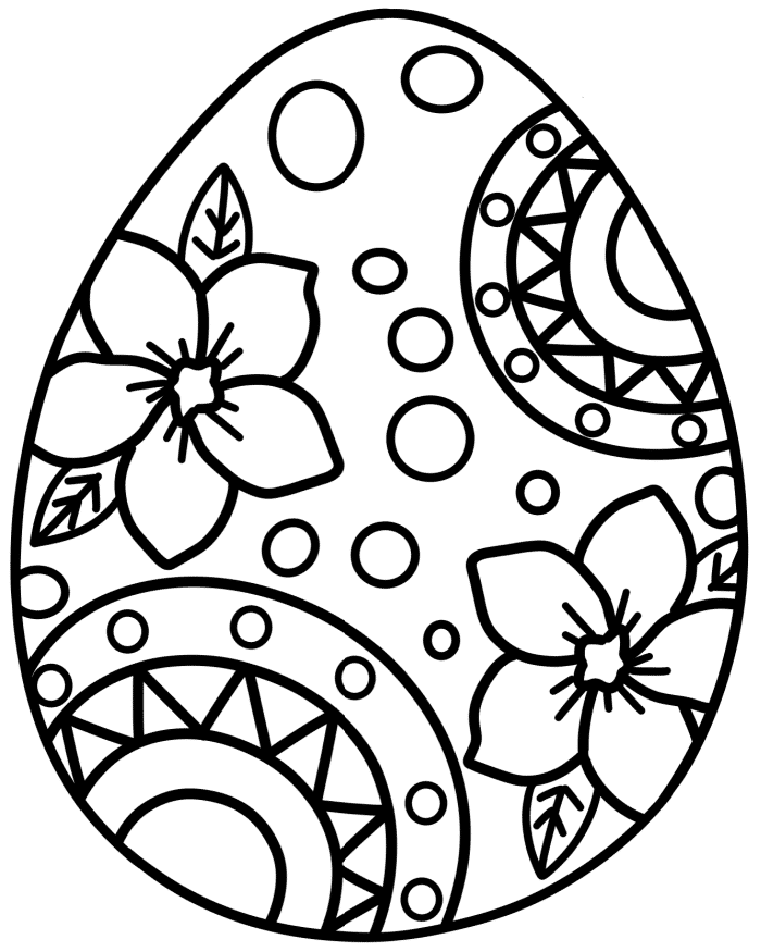 The 1st of the stand alone free Easter egg coloring page features a beautiful floral design with abstract elements.
