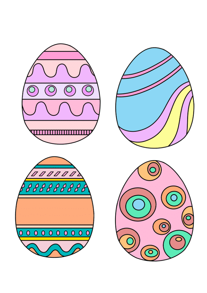 free colored Easter eggs printable