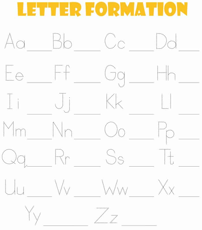 This free printable ABC tracing worksheet will help your kid work on letter formation of uppercase and lowercase letters.