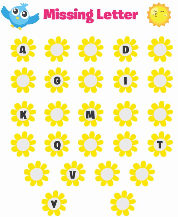 Use this free printable ABC worksheet to help your kid learn his or her ABCs; this one asks them to fill in the missing letter