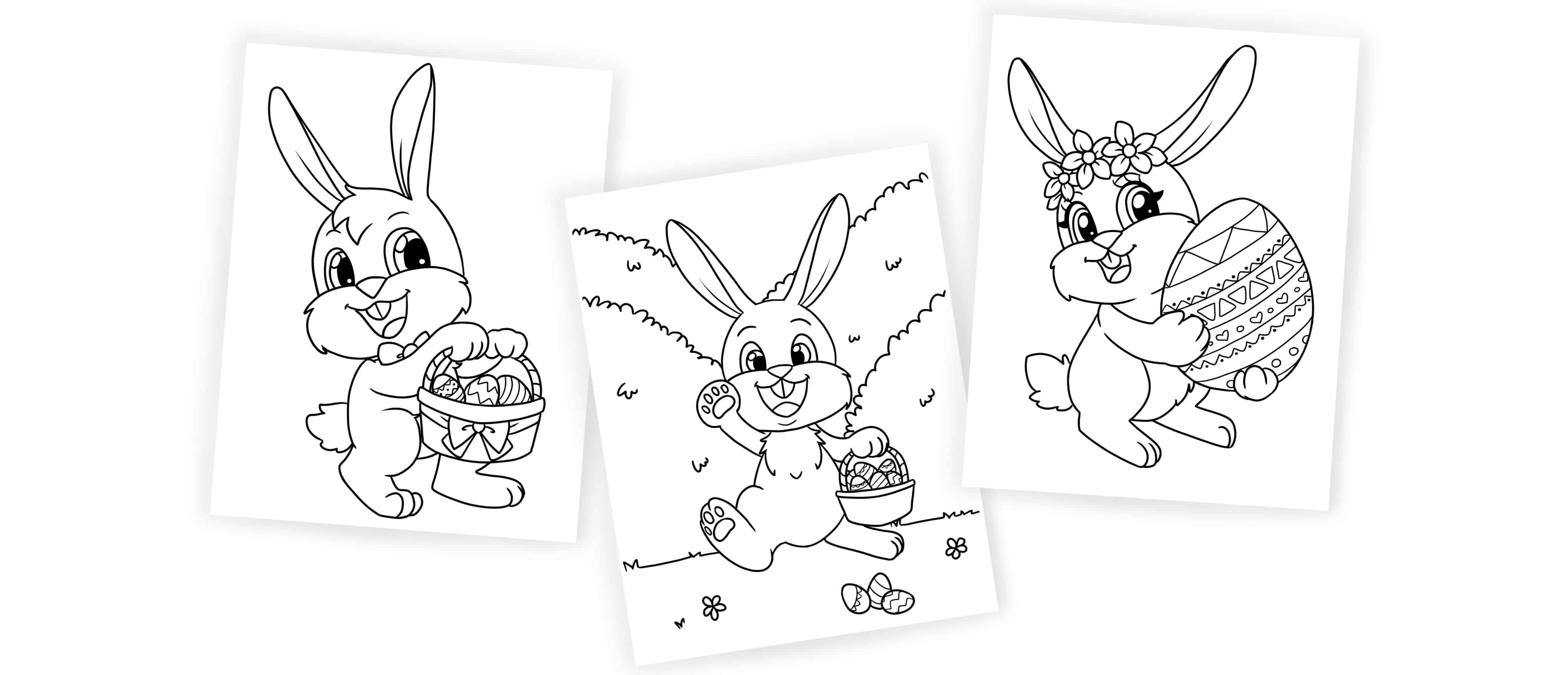 Once colored free printable Easter bunny coloring pages will make adorable DIY Easter décor.
