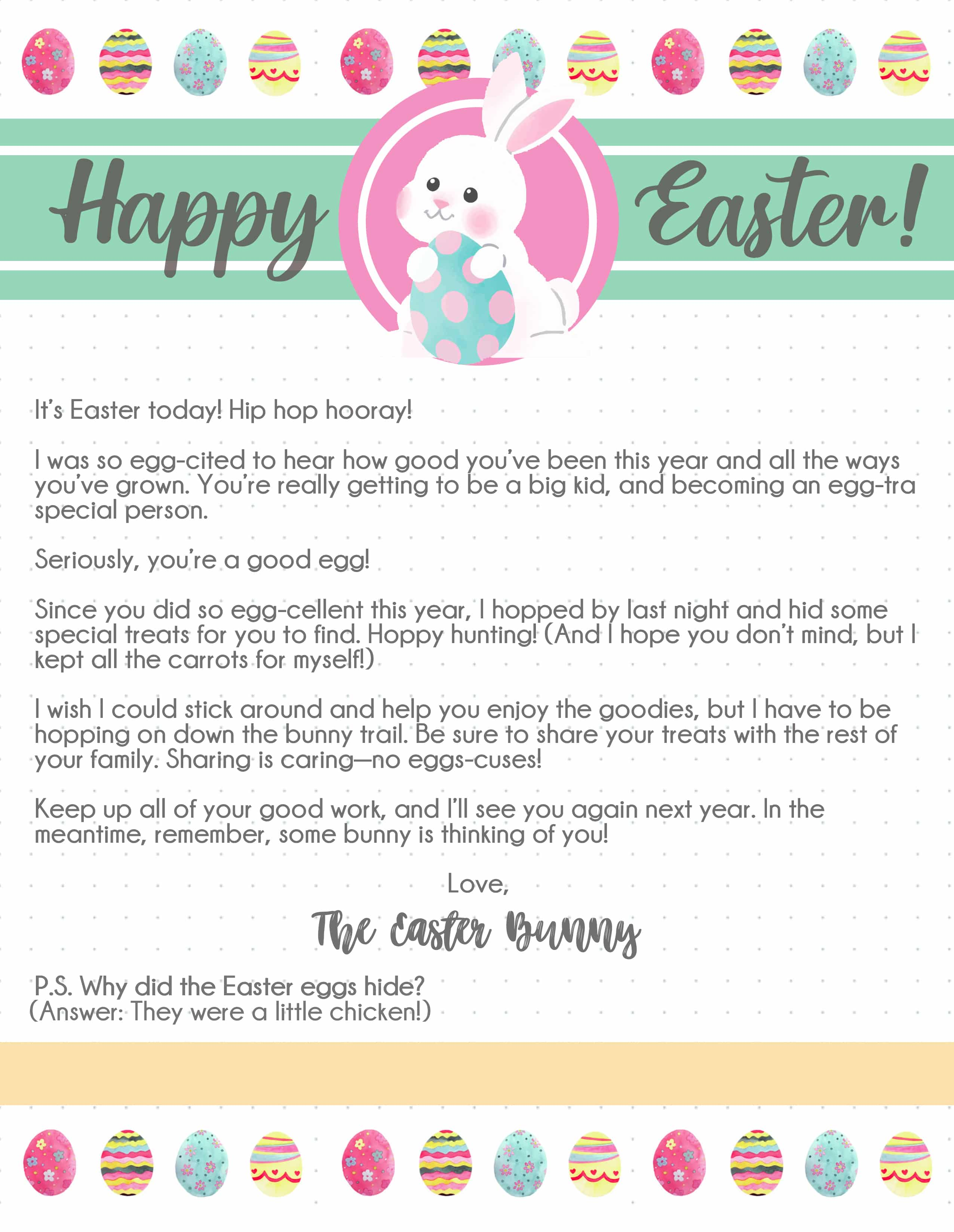 This free printable Easter bunny letter is an adorable way for the Easter bunny to tell your kids how proud he is of their hard work this year.