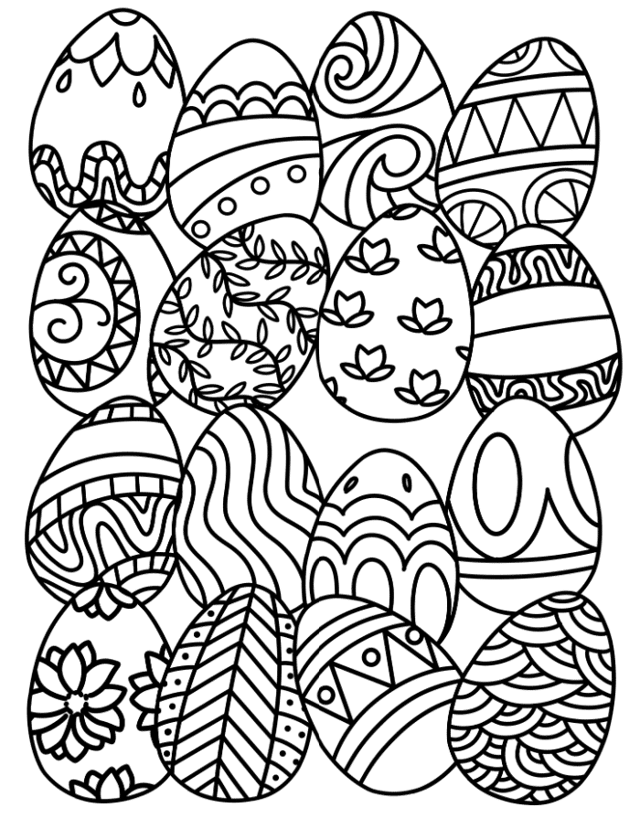 The first of these free printable Easter egg coloring pages gives you a lot of bang for your buck since you get 16 intricate eggs to color!