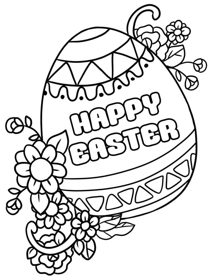 The intricately decorated egg in this free printable Happy Easter coloring page for adults and kids is way less mess than dyeing a real egg!