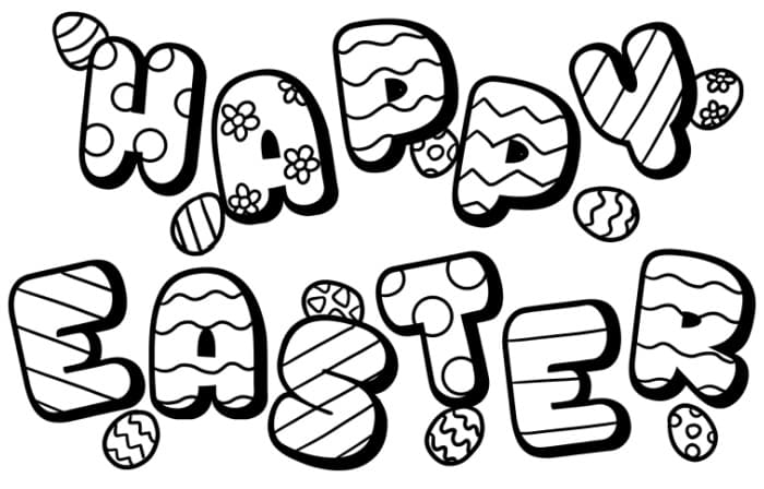 This free printable Happy Easter Day coloring page says Happy Easter in bubble letters and makes a great addition to other Easter décor.