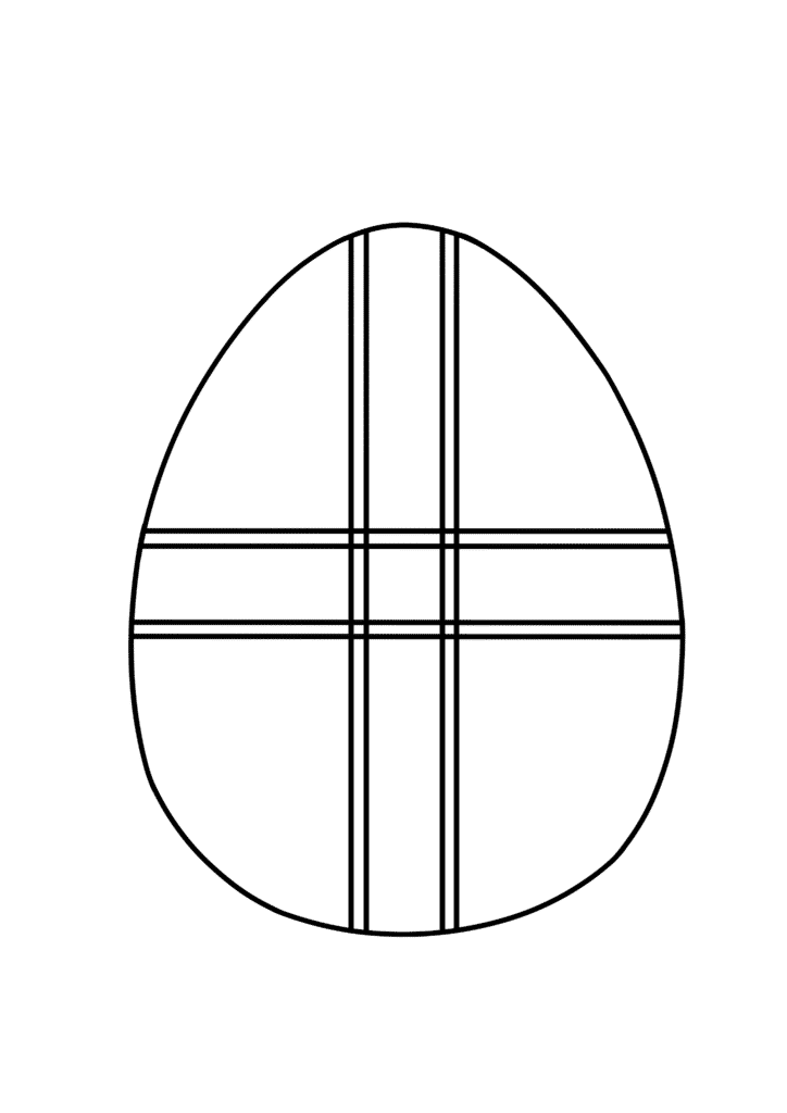 free printable blank Easter egg coloring page crisscross pattern