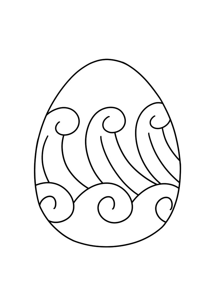free printable blank Easter egg coloring page wave pattern