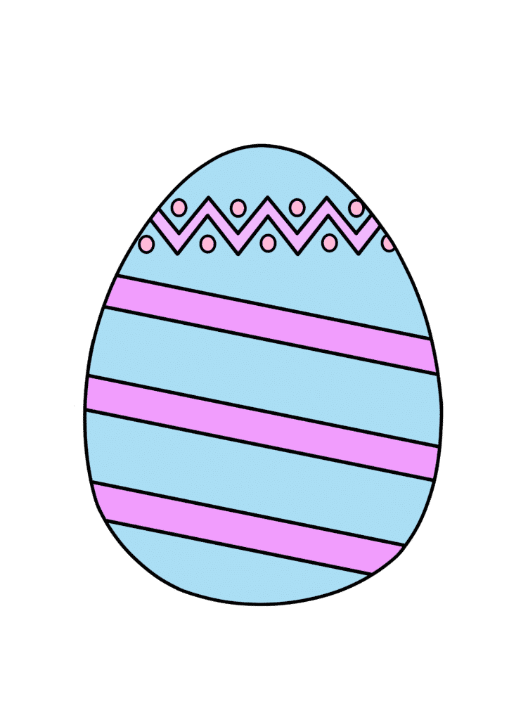 free printable colored Easter egg blue pink