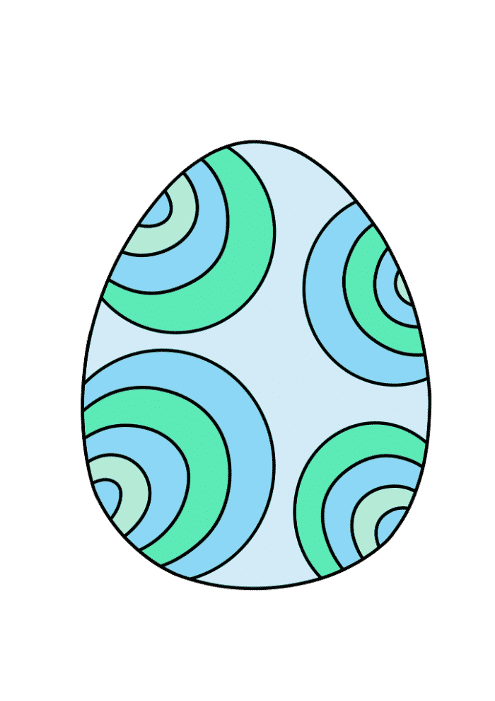 free printable colored Easter egg blue green