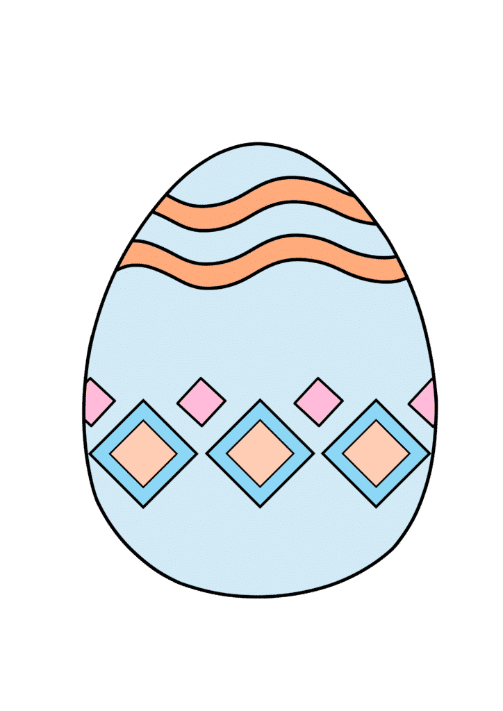 free printable colored Easter egg blue pink multi