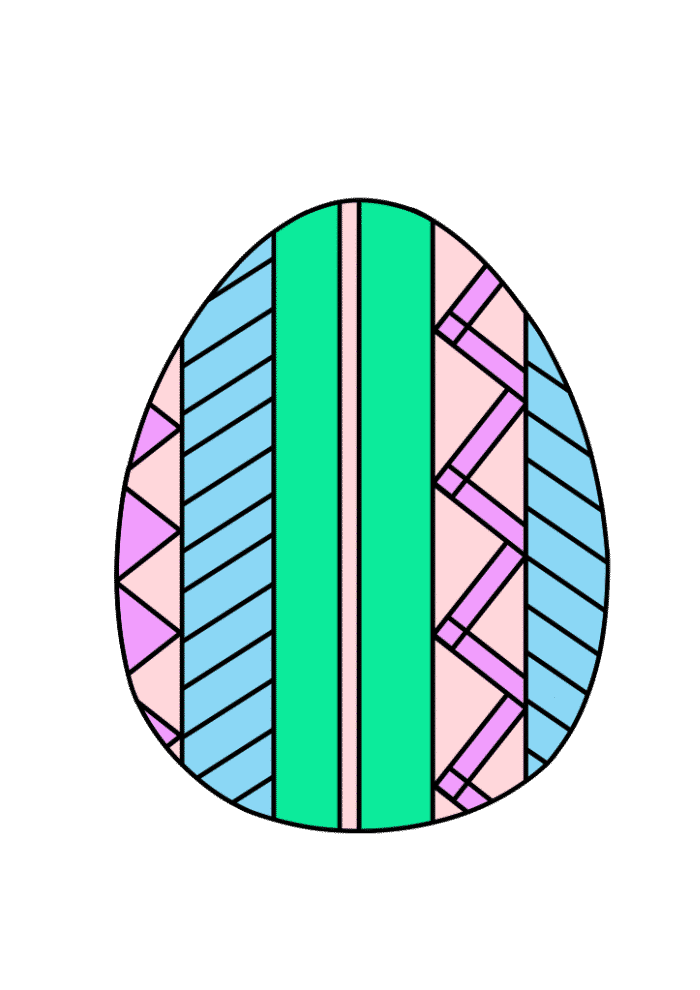 free printable colored Easter egg multi