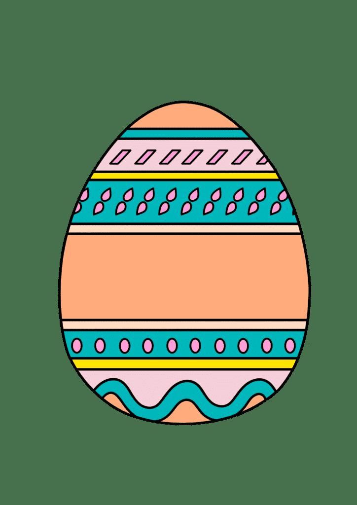 free printable colored Easter egg orange