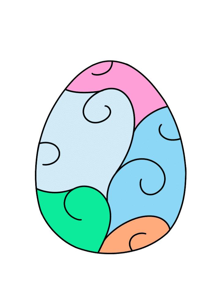 free printable colored Easter egg scroll multi