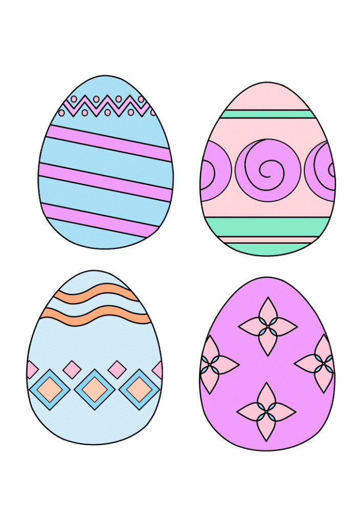 free printable colored Easer eggs