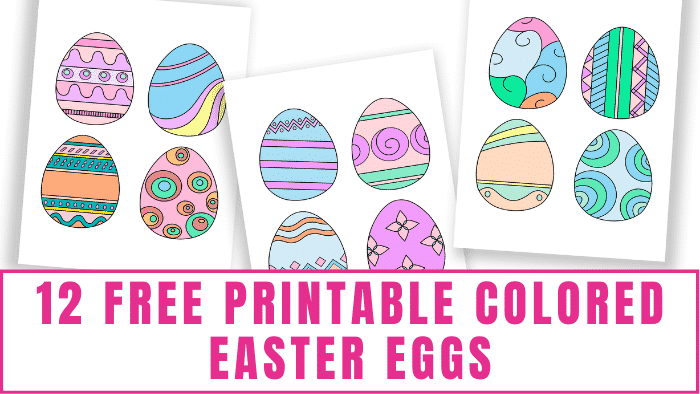These free printable colored Easter eggs can be used in fun Easter crafts, Easter decorating, Easter lunch box notes, and more!