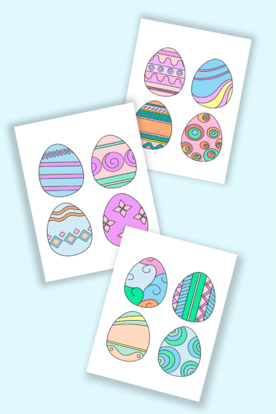 free printable colored Easter eggs