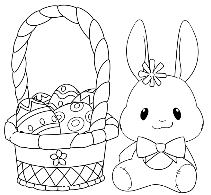 The stuffed Easter bunny with the Easter Basket make this an adorable free printable coloring page Easter basket for kids.