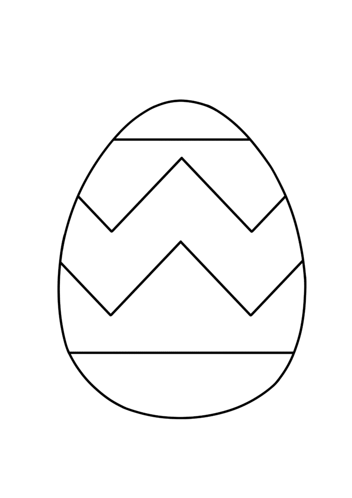 free printable easy Easter egg coloring page zigzag pattern