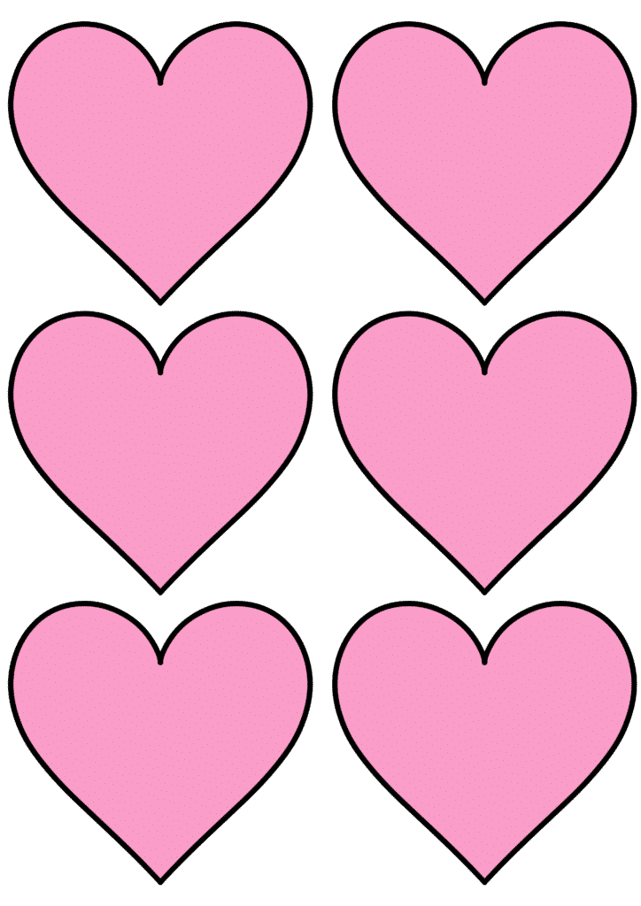 free printable heart shape template pink
