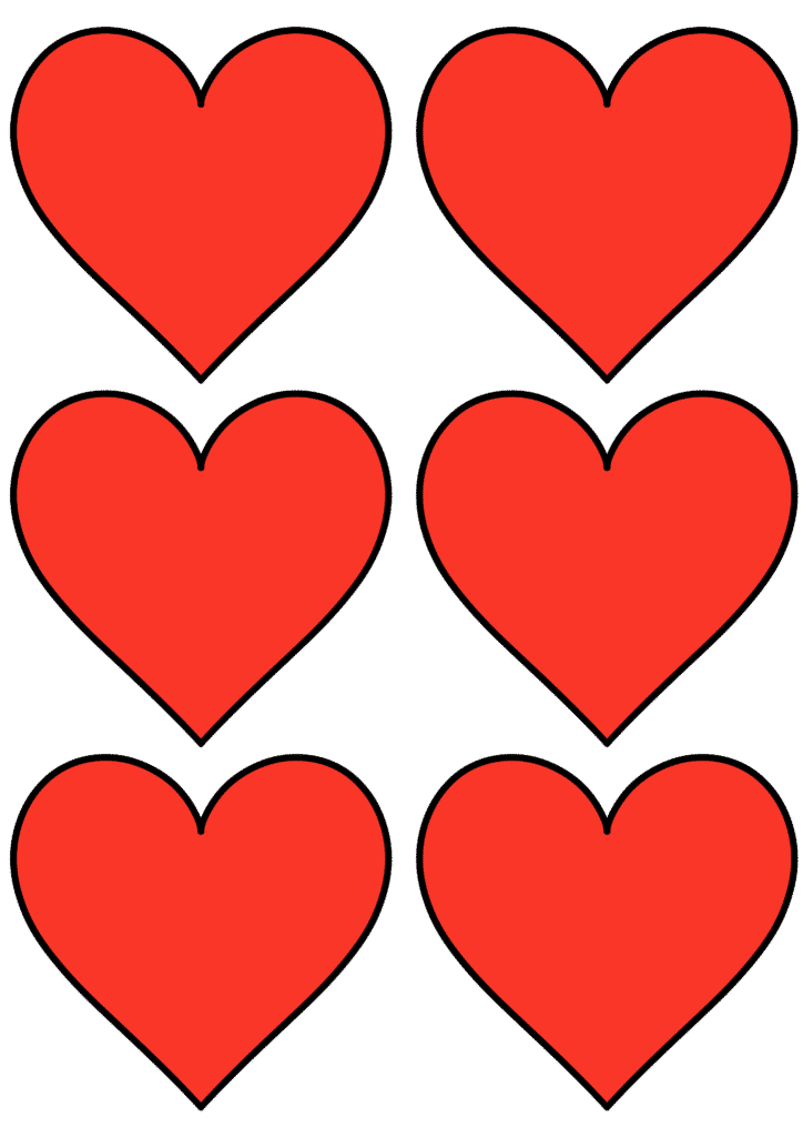 free printable heart shape template red