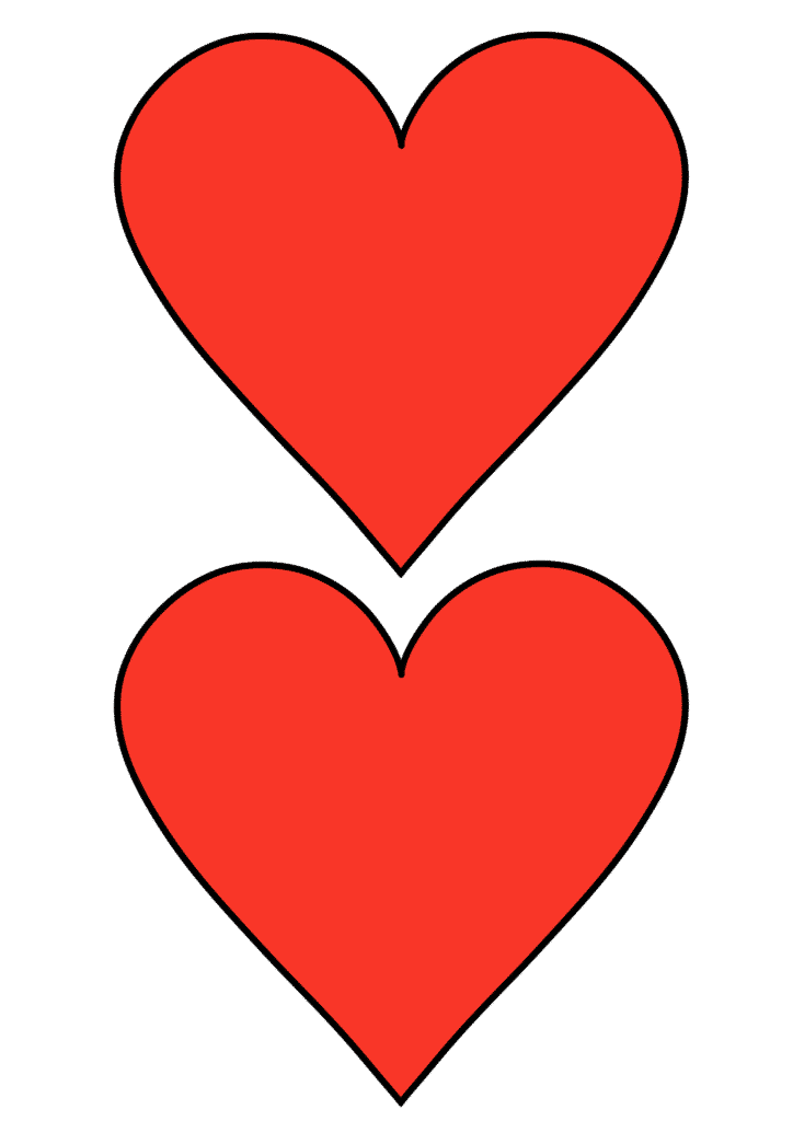 free printable heart template cut out red