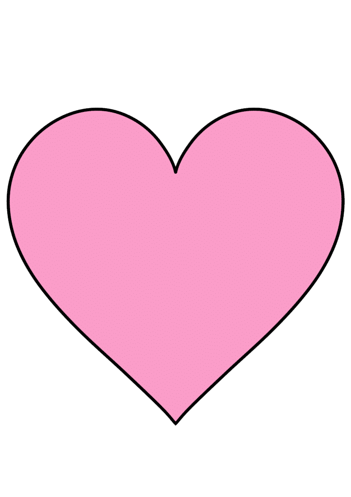 free printable large heart template pink