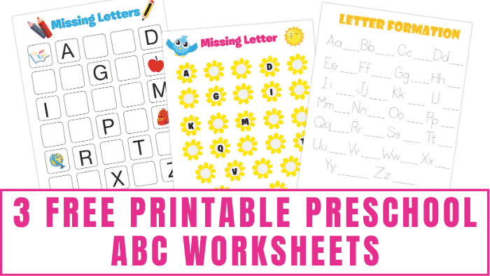 These free printable preschool ABC worksheets will help your kids learn letter recognition, letter writing, and the alphabet.