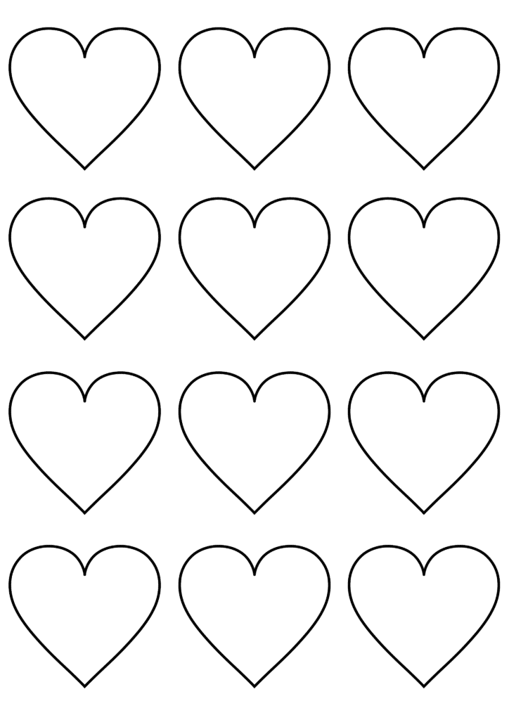 free printable small heart template white
