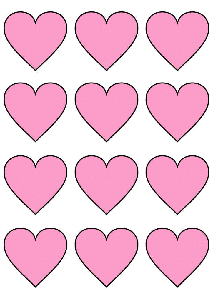 free printable small heart template pink