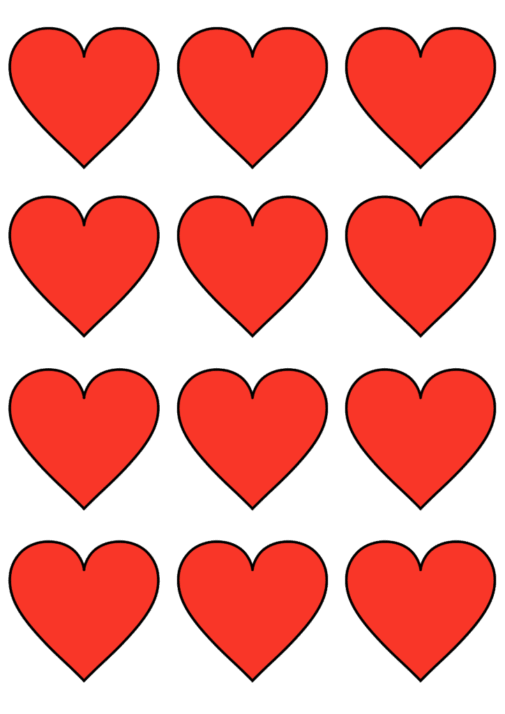 free printable small heart template red