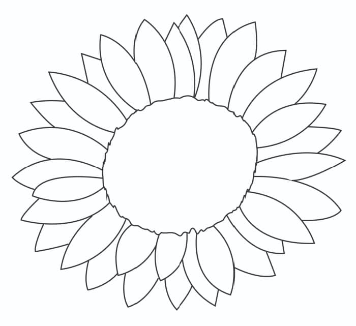 When coloring this free printable sunflower template, don't limit yourself since sunflowers can range from pale yellow to fiery red.