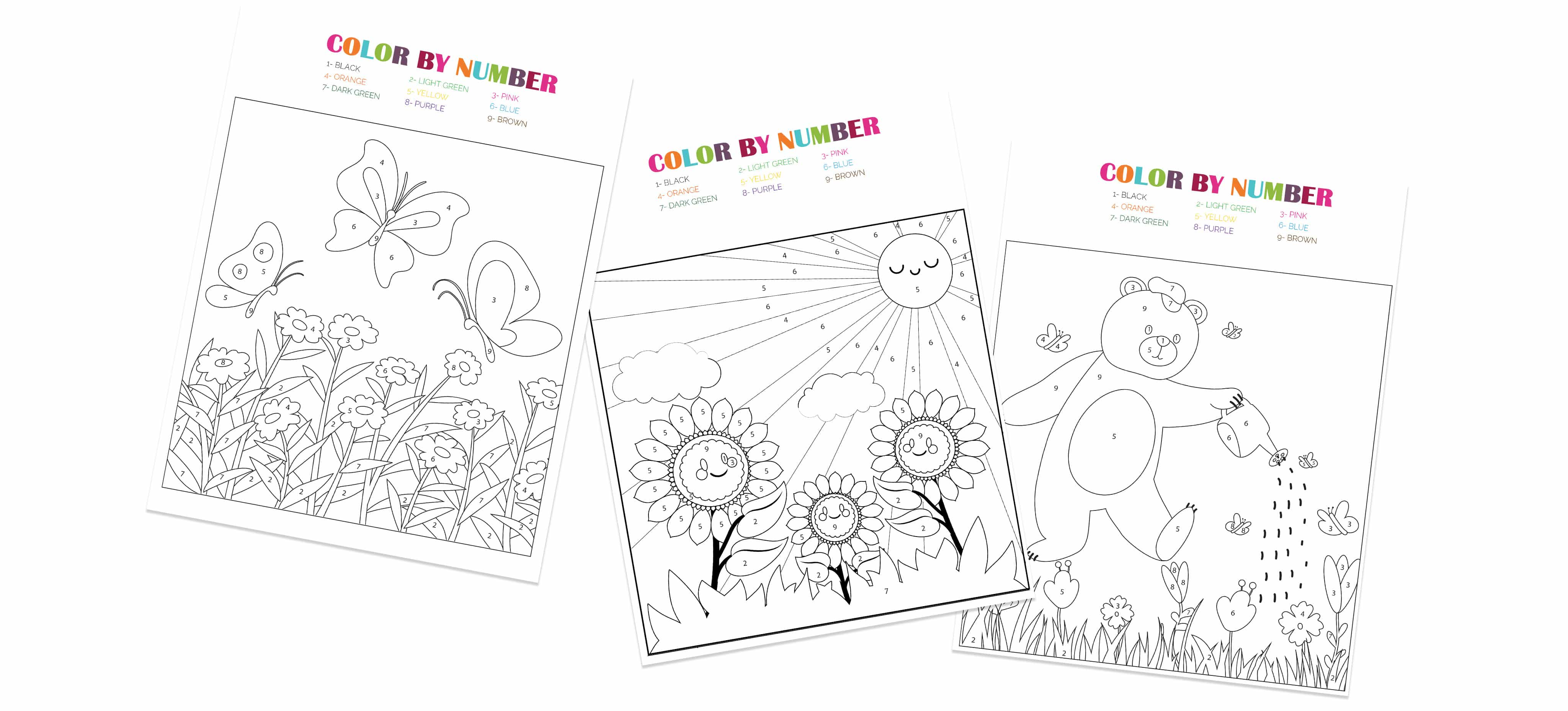 These free spring color by number printables are another great way to keep your kids learning their numbers and refining their fine motor skills while having fun!
