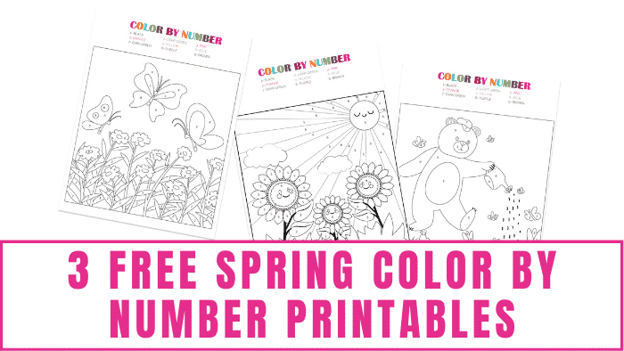 These free spring color by number printables will help your kid learn his numbers and work on fine motor skills.