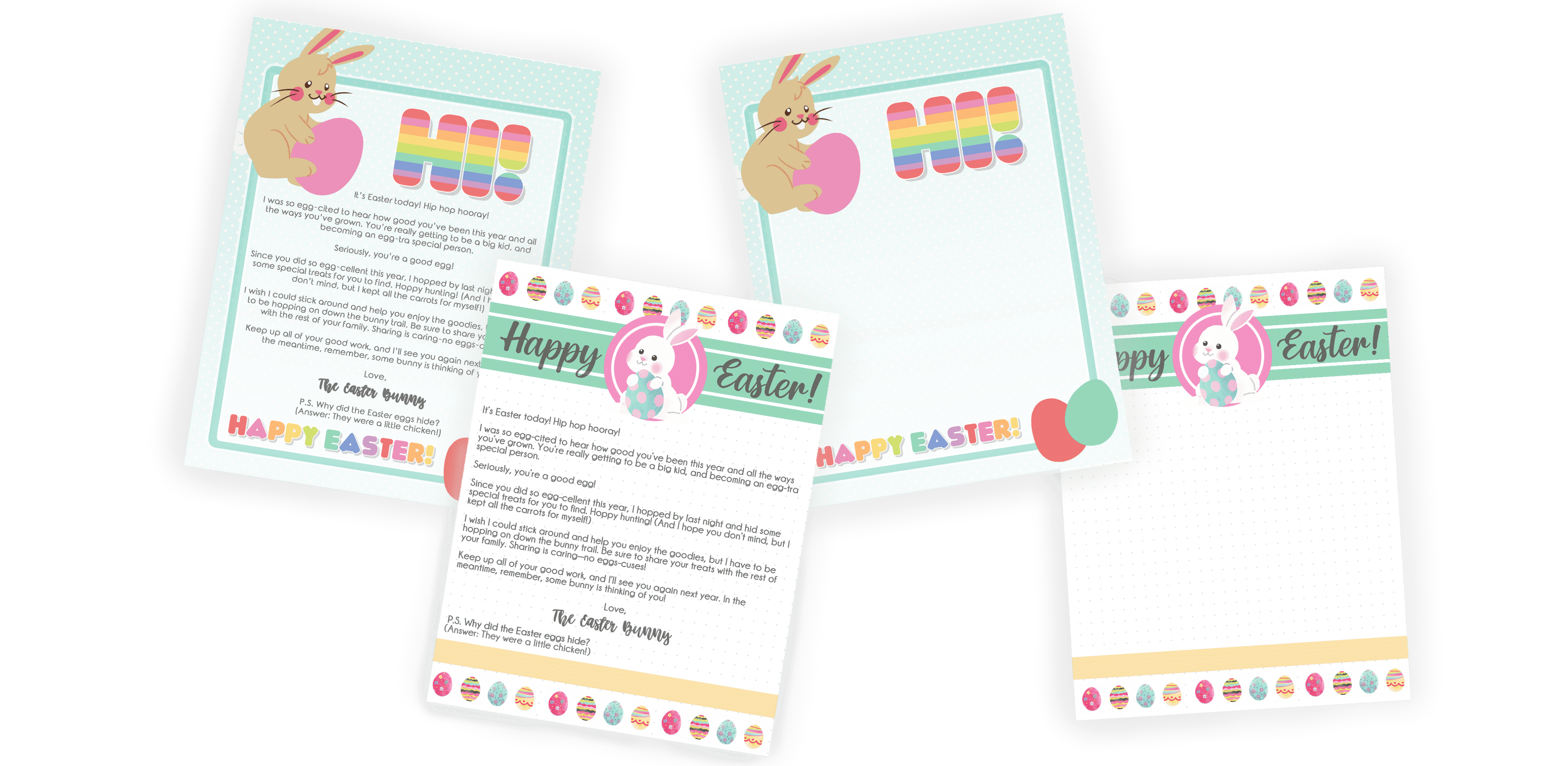 Surprise your kids with one of these free printable Easter bunny letters. Choose a Easter bunny letter template with a pre-written note or a blank template for you to write a personalized message.