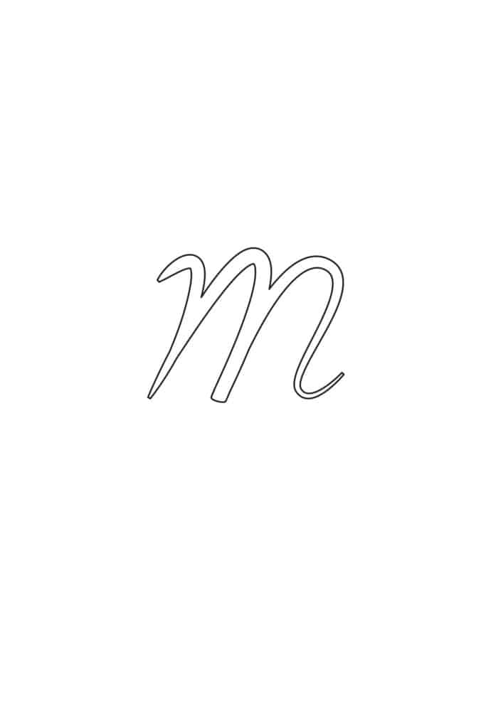 Free Printable Calligraphy Lowercase Letters Calligraphy Lowercase M